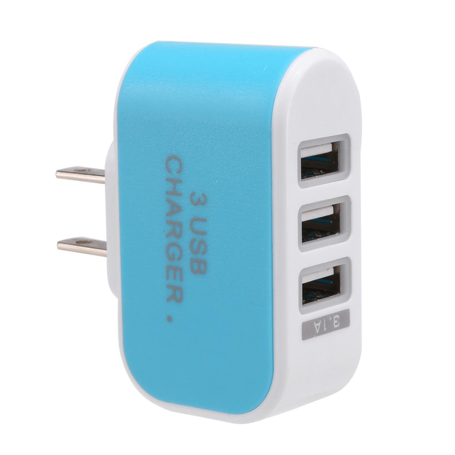 Yirind USB Wall Charger,3.1A 3-Port USB Cube Power Adapter for Phone US Plug Wall Chargers,Black