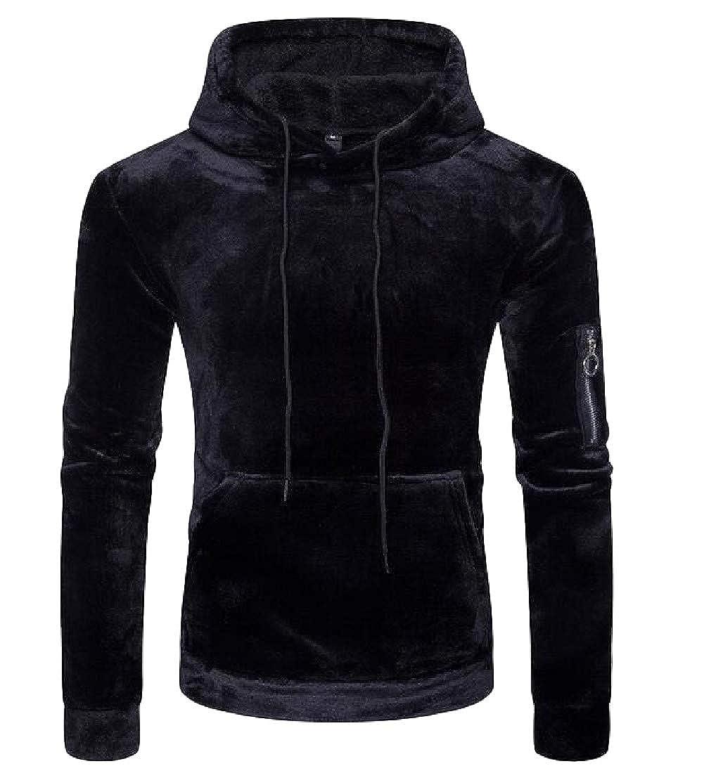 Macondoo Men Stylish Fleece Pullover Pocket Hooded Sweatshirts Jacket