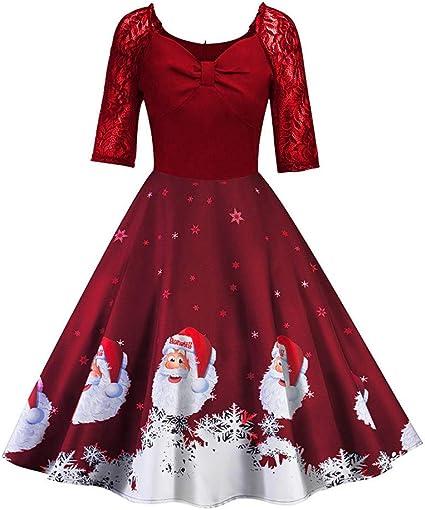 Boże Narodzenie damska sukienka w stylu vintage, lat 50., z koronką i koronką, patchworkowa, na imprezę, rockabilly, swing, sukienka: Odzież