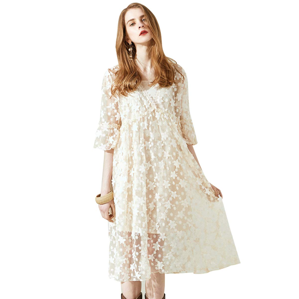 Creamywhite VNeck Dress, Spring and Summer New Women's Long Dress