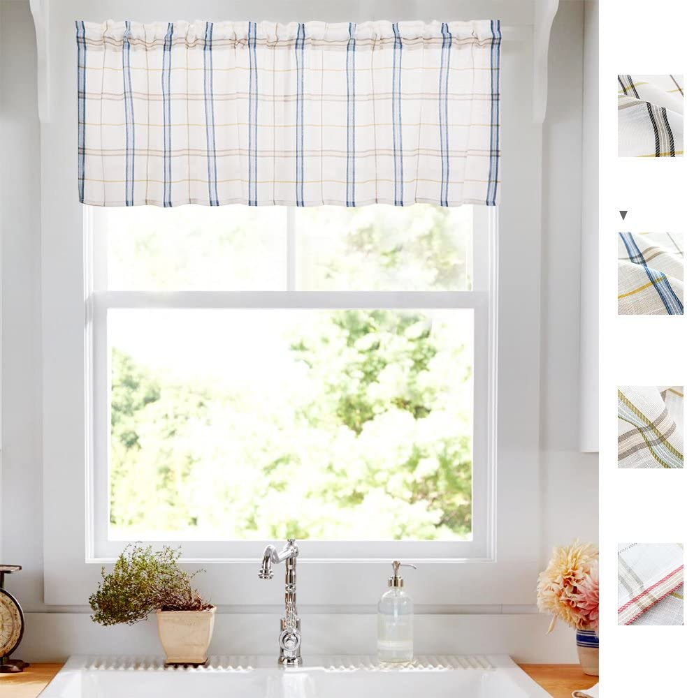 W60-Inch X L24-Inch Valnace, Black White Check Kitchen Valance Linen Look Gingham Half Window Bathroom Curtains Classic Buffalo Checkered Cafe Curtains,