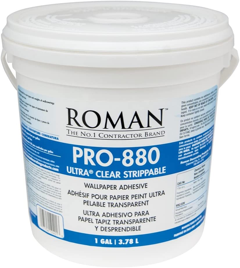 Roman Products Roman 012401 PRO-880 Ultra Clear Adhesive, 1 gal, 1 Gallon | 330 Sq. Ft, White - -