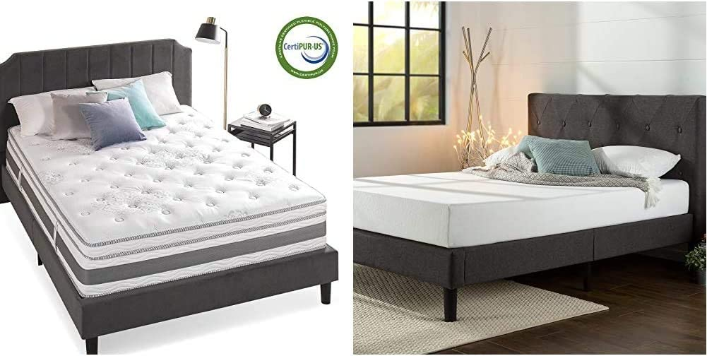 Zinus 14 Inch Gel-Infused Memory Foam Hybrid Mattress, Queen & Shalini Upholstered Diamond Stitched Platform Bed/Mattress Foundation/Easy Assembly/Strong Wood Slat Support/Dark Grey, Queen
