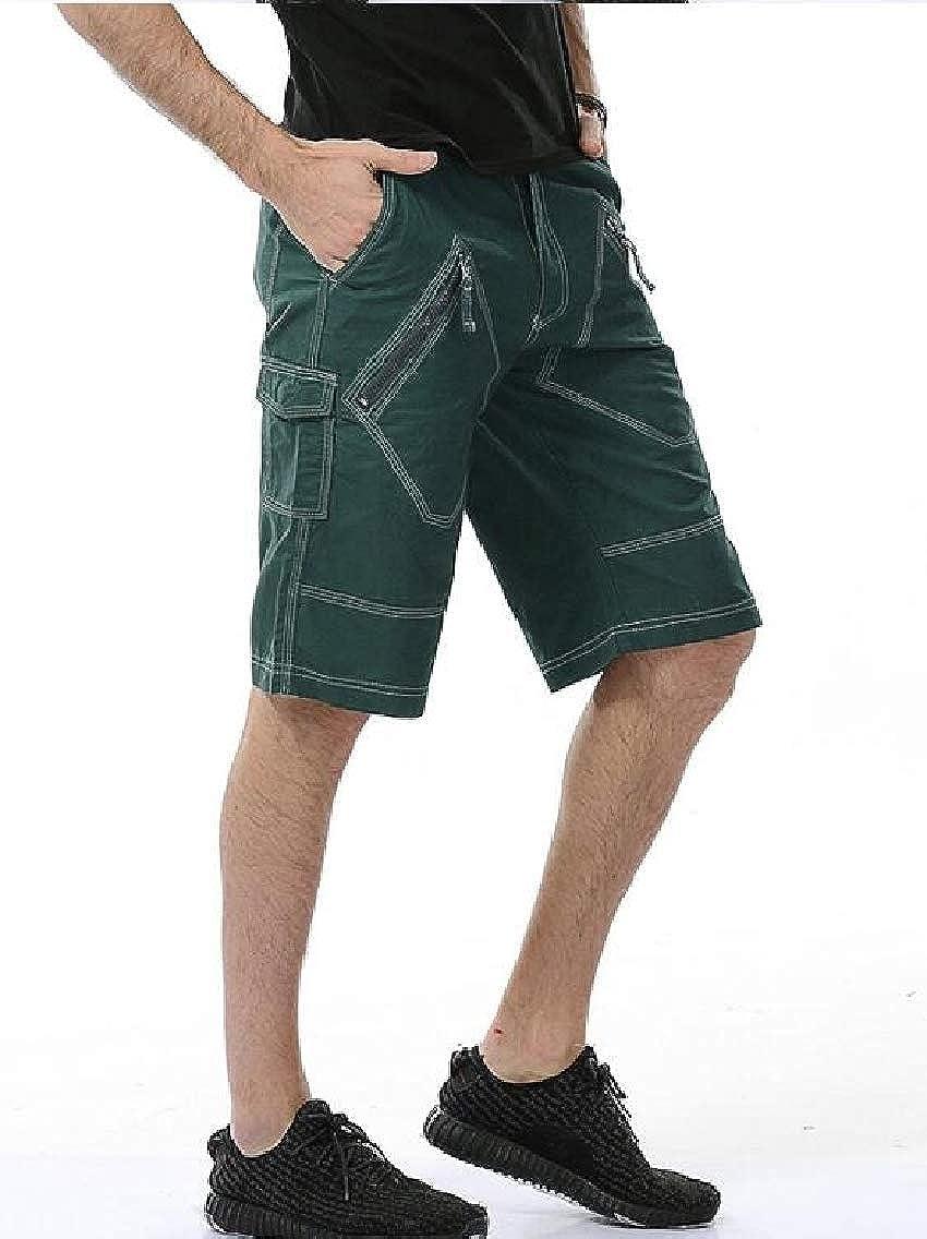 YULEgowinner Mens Knee Length Outdoor Multi Pockets Cotton Cargo Shorts