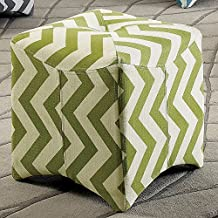Light Lime Olive Green White Zig Zag Square Ottoman Chevron Pattern, Button Tufted Top Bold Texture Appeal, Arched Leg Design, Beautiful Fabric Small Footstool