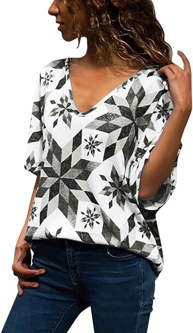 VEMOW Blusa De Mujer Camiseta De Manga Corta con Cuello En ...