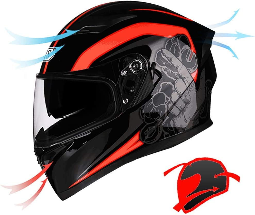 Black Red 54-65CM Full Face Motorcycle Helmet Professional Anti Crash Downhill Motorbike Helmets Removable Lining Comfort Racing Protection Caps Double Sun Visor Helmet lxhff