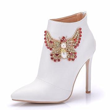 GAIHU Señoras mujer Botines Zapatos de novia boda blanca Rhinestones vestidos noche Tacón puntiagudo primavera otoño