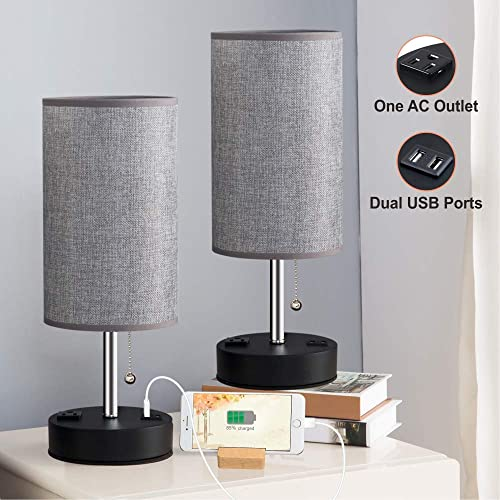 Lifeholder Table Lamps, Gray Nightstand Lamp Built in Dual USB Charging Port A Power Outlet, Cylinder Desk Lamps Perfect for Bedroom, Living Room or Office 2 Packs