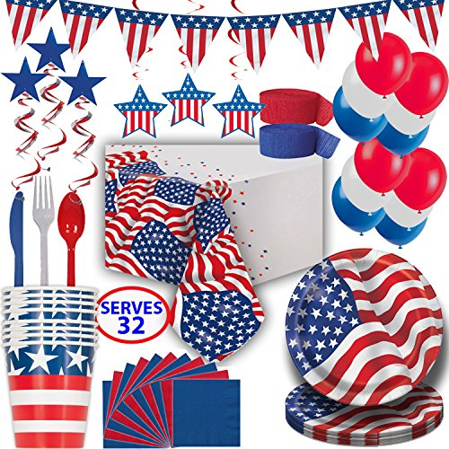 Patriotic Party Supplies and Decorations - 32 Guests - Plates, Cups, Napkins, Tablecloths, Cutlery, Balloons, Pennant Banner, Swirls - Ultimate Red White and Blue set for Fourth of July Theme party -