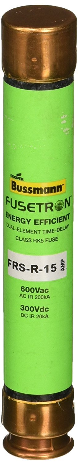 Bussmann FRS-R-15 15 Amp Fusetron Dual Element Time-Delay Current Limiting Class RK5 Fuse, 600V UL Listed