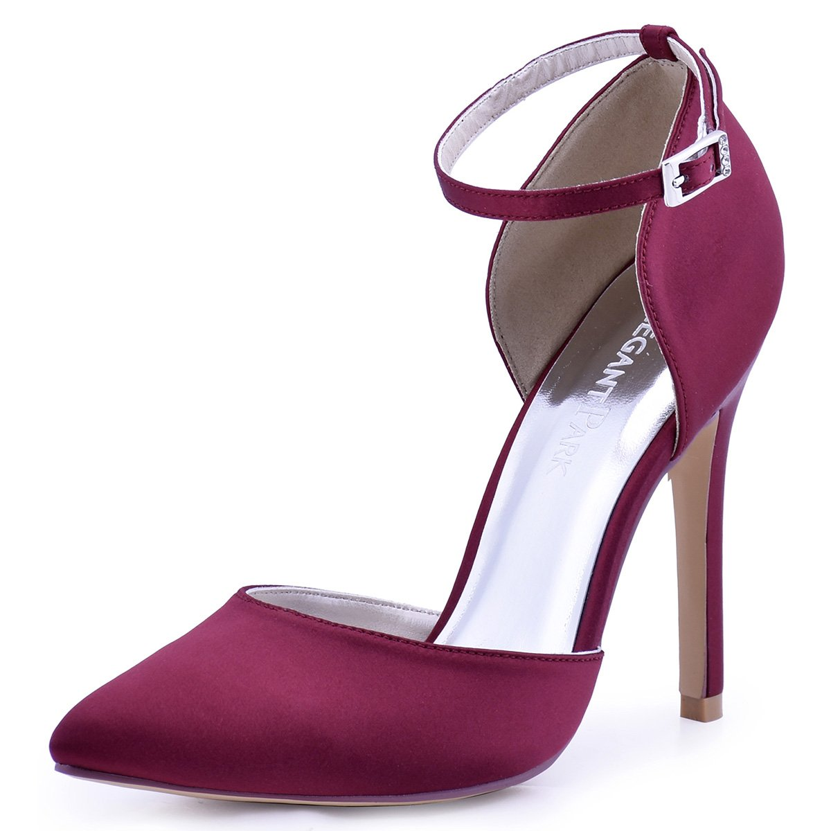 ElegantPark HC1602 Women's Pointed Toe High Heel Ankle Strap D'Orsay Satin Dress Pumps Burgundy US 7.5