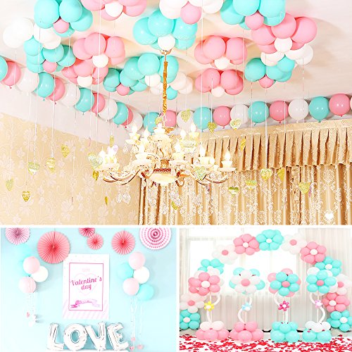 Geekper 100pcs Party Balloons 10inch Tiffany Blue Pink White Hand