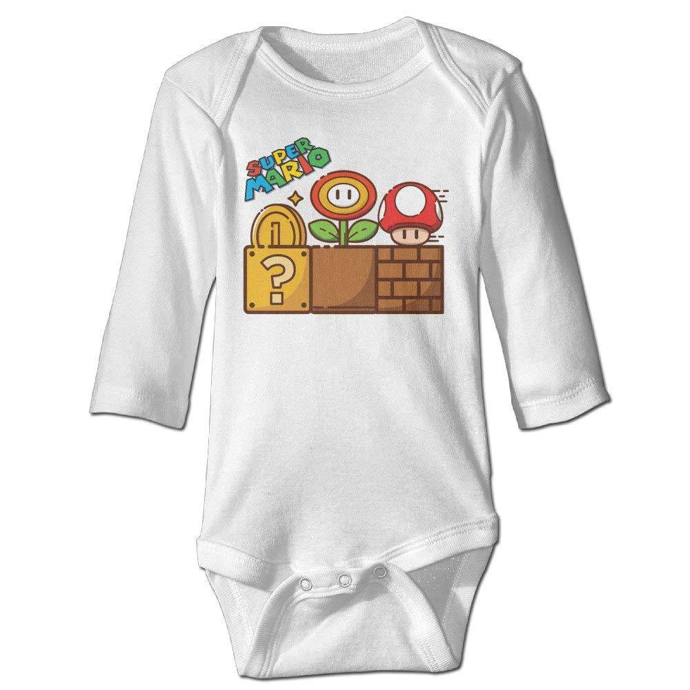 Xin He Shang Mao Mono para beb/é Super Mario Mushroom Gold Flower Baby Long Sleeve Bodysuit