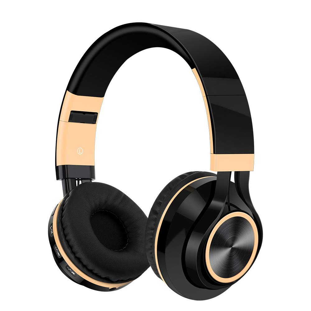 bescita Bluetooth Headset Kopfhö rer, HiFi-Stereo-Headset Wireless mit Mikrofon SD/TF-Karte Over Ear Headset Ohrpolster mit FM-Funktion HiFi-Stereo-Headset Wireless mit Mikrofon SD/TF-Karte Over Ear Headset Ohrpolster mit FM-Funktion (Gold)