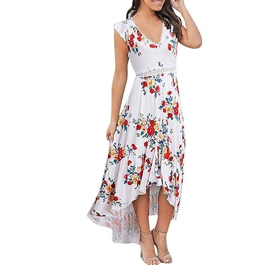 b87b1dfbcae MURTIAL Women s Long Dress Floral Bodycon Derss Elegant Sleeveless Ruffle  Midi Dress Party Dress(Beige