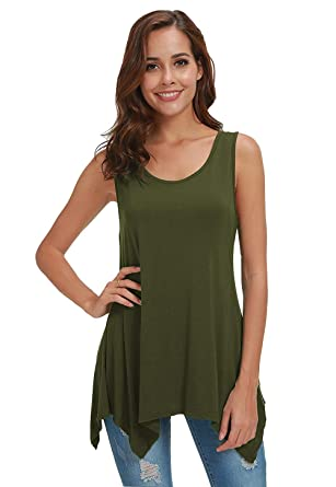 4c31ca7ebeb8e3 Fengtre Women Sleeveless Tunic Loose-fit Flowy Essential Long Tank ...
