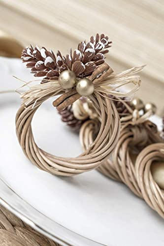 Set of 4-20 Xmas Wood Table Decorations Gold Christmas Pine Cone Napkin Rings
