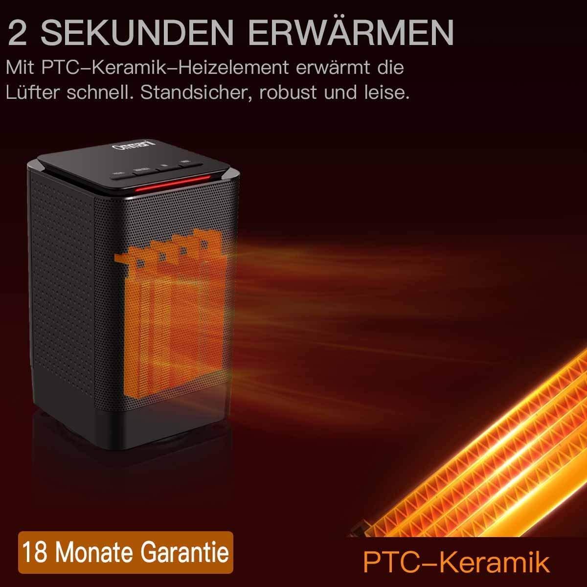 Ommani Calefactor, Cerámica Calefactor PTC 950 W Calienta en 2 Segundos, con Doble Protección Frente al Calentamiento, Calefactor de Bajo Consumo, ...