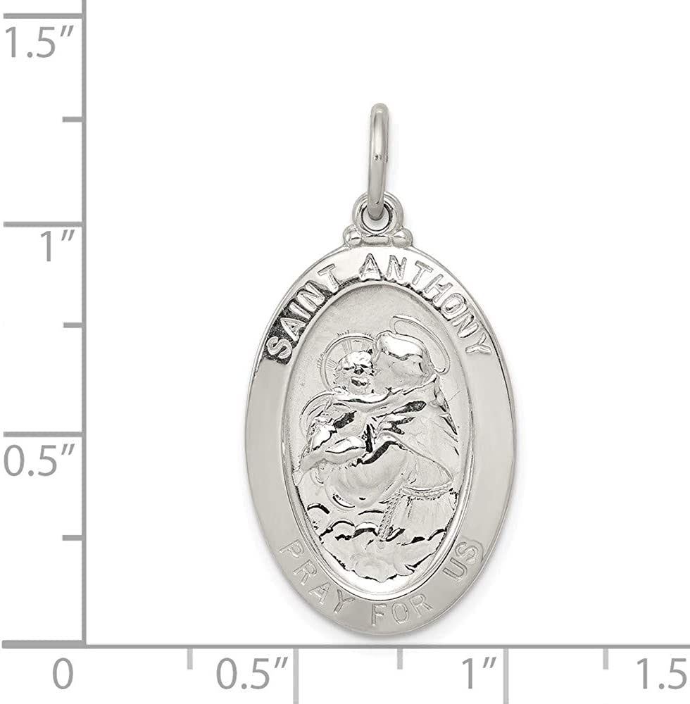 Solid 925 Sterling Silver Catholic Patron Saint Anthony Pendant Charm Medal 35mm x 20mm