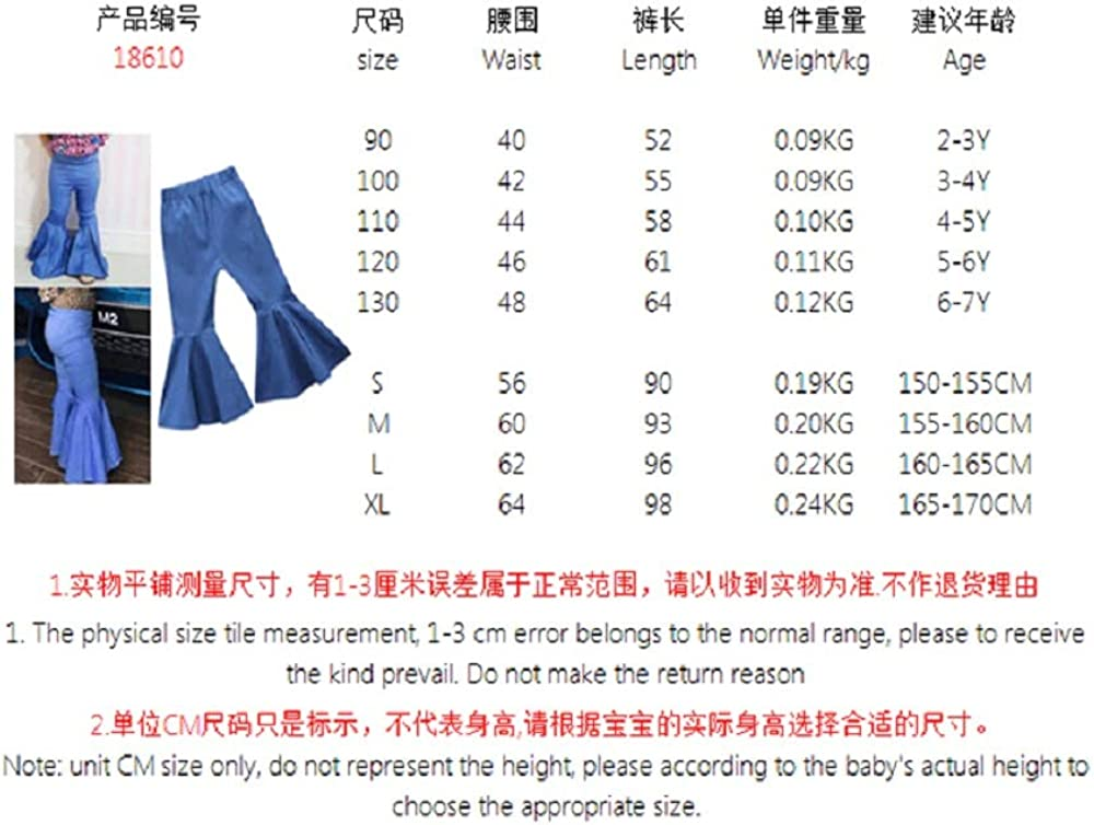 Family Matching Mommy and Me Denim Bell-Bottoms Pants Women Girls Casual Long Jeans Trousers