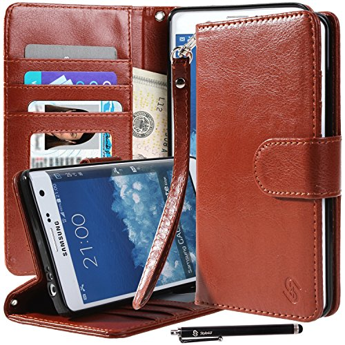 Galaxy Note Edge Case, Note Edge Case, Style4U Premium PU Leather Stand Wallet Case with ID Credit Card / Cash Slots for Samsung Galaxy Note Edge+ 1 Stylus [Brown]