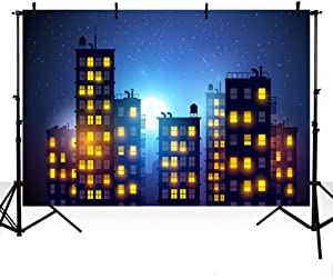 MEHOFOTO Dark Blue Evening Photo Background Super Hero Themed City Building Children Night Sky Moon Backdrop Banner for Photography 7x5ft