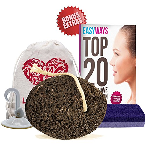 Pumice Stone - #1 Finest Natural Lava Pumice - Gift Set Bundle - 2 FREE Bonus Extras - Callus Remover - Home Pedicure Exfoliation - Pumice Stone For Feet Hands and Body (Stone Pedicure Pumice)
