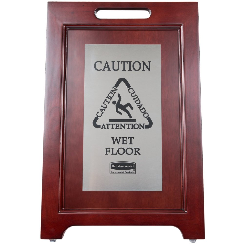 Rubbermaid 1867508 23 1/2'' 2-Sided Wooden Stainless Steel Executive Wet Floor Sign