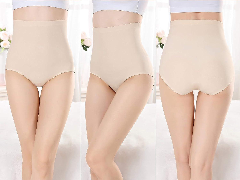 FEOYA 2XL Mutande Vita Alta Donna Slip Invisible Senza Cuciture Elasticizzate Mutande Contenitive Guaina Post Parto de 4 Pezzi