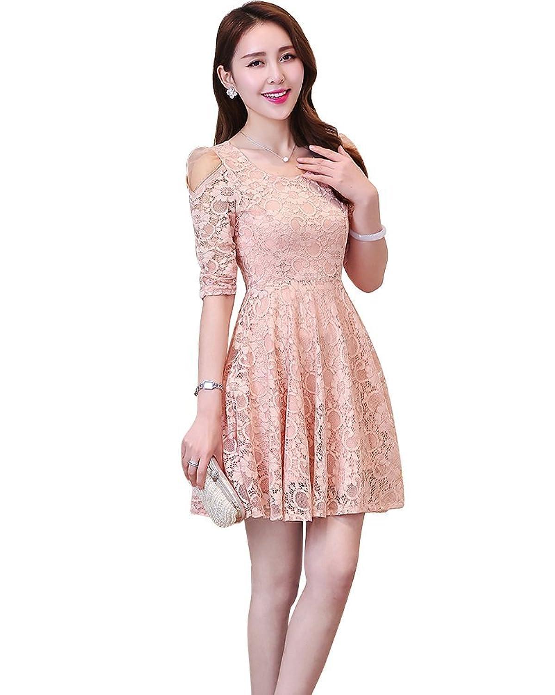 YipGrace Frauen Elegante Halbe Hülsen Volle Spitze Kleid
