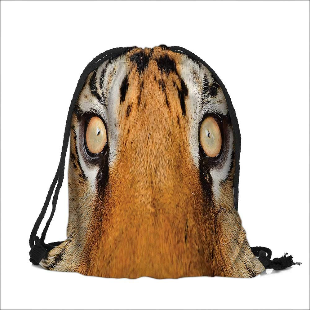 Thick Drawstring Pocket Safari Close up Tiger Eyes Hunter Look Feline uflage Coat with Shady Colors Orange Black with Drawstring Closure 12''W x 16''H