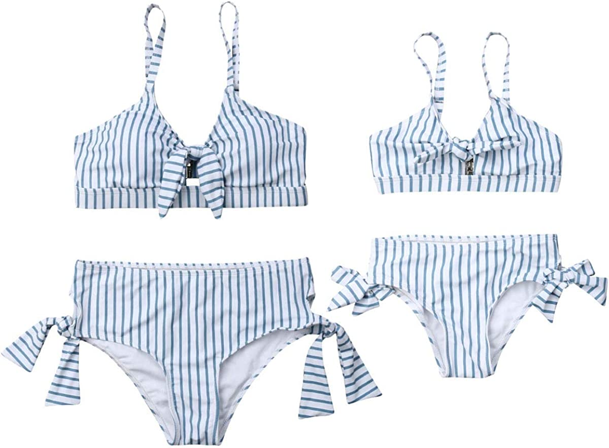 Mommy and Me Swimsuits Two Pieces High Waist Bikini Set Family Matching Mother Girl Swimwear Bathing Suit