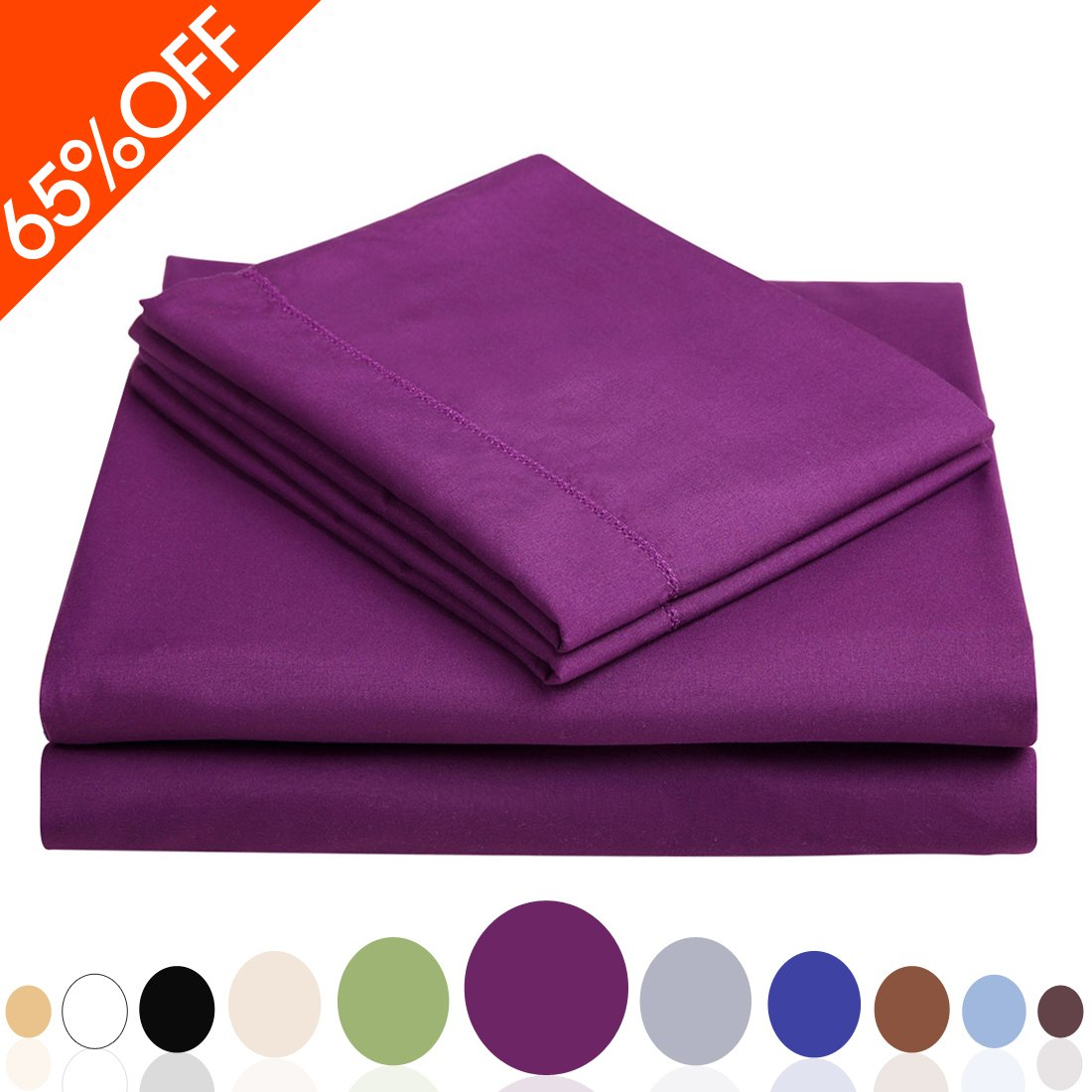 Balichun Deep Pocket Bed Sheet Set Brushed Hypoallergenic Microfiber 1800 Bedding Sheets
