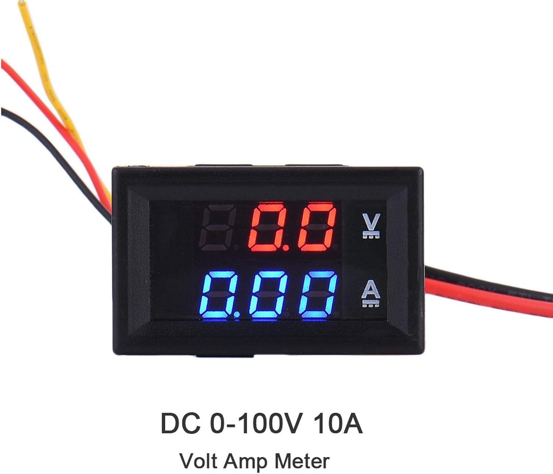 DC 0-100V 10A Dual LED Digital Voltmeter Ammeter Voltage AMP Power