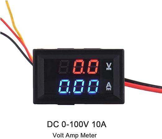 DC 100V 10A Dual Volt Amp Meter Voltm/ètre avec affichage num/érique LED rouge et bleu.