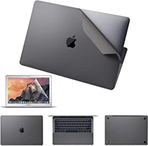 VFENG Premium 6 in 1 3M Vinyl Full Body Skin Sticker and 2PACK Screen Protector for Older Version MacBook Pro 15.4 Inch with Retina Display (Model: A1398), Release in 2015 2014 2013 2012 - Gray