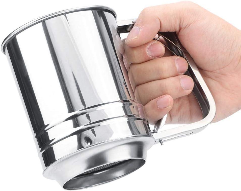 Cocina casera de acero inoxidable Tamiz de harina de doble capa Colador de harina manual con cuchilla giratoria Herramienta para hornear