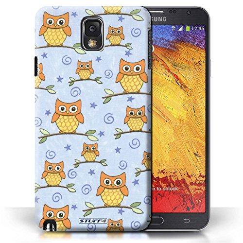 Etui / Coque pour Samsung Galaxy Note 3 / Orange/Bleu conception / Collection de Motif Hibou