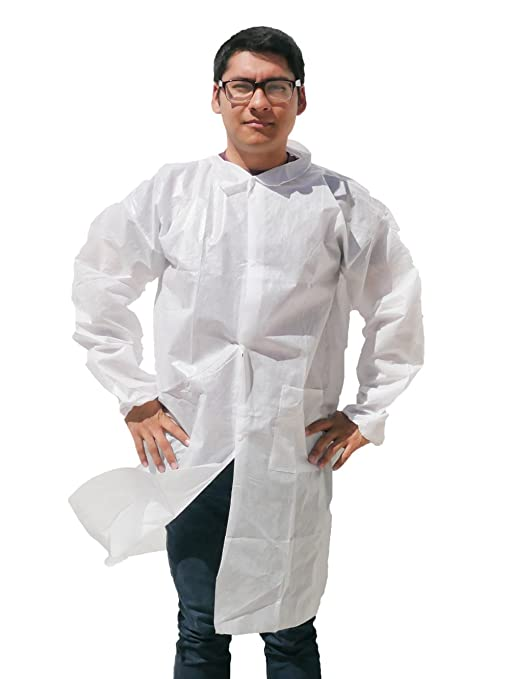 43f9a3ca7c4 Makerspace Lab Disposable Lab Coats Adult Medium 10 Pack | Durable  Polypropylene, Comfy Fit,