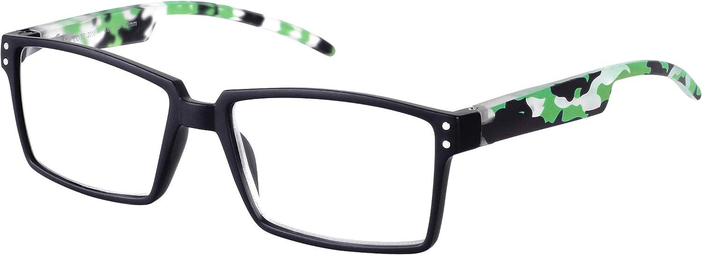 TBOC Gafas de Lectura Presbicia Vista Cansada – Graduadas +3.50 Dioptrías Montura Negra Patillas Camuflaje Verde de Diseño Moda para Hombre Mujer Unisex Lentes de Aumento para Leer Ver de Cerca