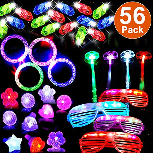 56 Pack Halloween Light Up Toys Glow in the Dark Party Favors for Kids Adult Christmas Party Supplies Pack with 4 Flashing Glasses 32 Figer Lights 4 Glow LED Hair 4 Flash Bracelets 4 LED Bumpy Ring