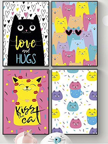 Kitty Wall Art For Girls Room Decor Or Cat Lovers  Unusual Cool Gift For Kids  Sisters  Girlfriend  Friendship  Posters For Girls Bedroom  Bathroom Or Poster Ideas For Kawaii Decoration