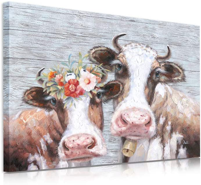 "B BLINGBLING Cow Pictures Wall Decor: Cow Canvas Wall Art Mr and Mrs Wall Decor for Bedroom with Frame and Ready to Hang (24""x32""x1 Panel)"