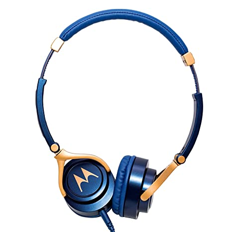Motorola Pulse 3 Headphones with One Touch Amazon Alexa (Blue) On-Ear Headphones at amazon