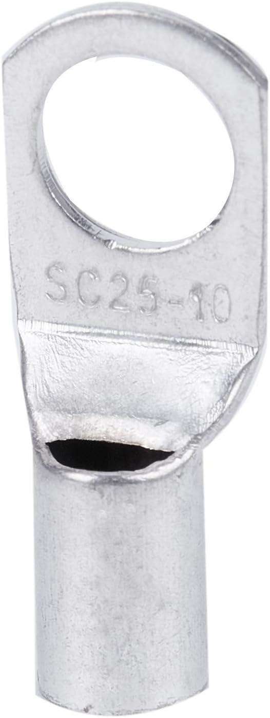 ACAMPTAR Tubo de cobre de 6 piezas 25 mm x 10 mm Terminal de la bateria de arranque Engarzado de soldadura por cable Anillo terminal