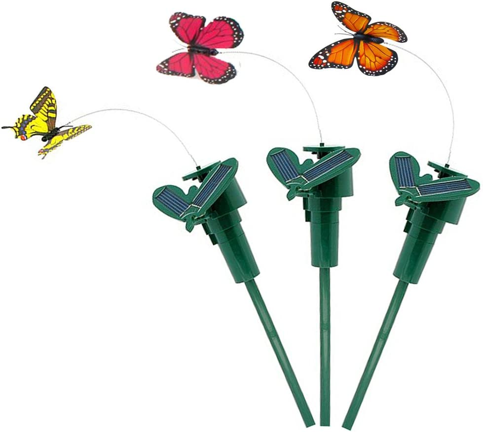 Vnfire 3 Pcs Solar/Battery Powered Flying Wobble Fluttering Butterfly Yard Garden Plants Flowers Stake Ornament Decor