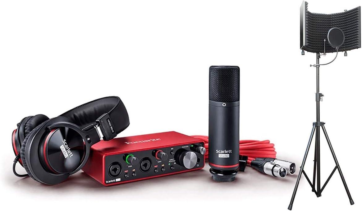 Focusrite Scarlett 2i2 Interfaz de grabación de audio USB, paquete completo de 2ª generación de paquetes de grabación con auriculares, micrófono, software de grabación y micrófono con soporte: Amazon.es: Instrumentos musicales