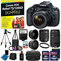 Canon EOS Rebel T5 18MP EF-S Digital SLR Camera USA warranty with canon EF-S 18-55mm f/3.5-5.6 IS [Image Stabilizer] II Zoom Lens & EF 75-300mm f/4-5.6 III Telephoto Zoom Lens + 58mm 2x Professional Lens +High Definition 58mm Wide Angle Lens +Canon EOS Rebel T5/1200D For Dummies + Auto Power Flash + UV Filter Kit with 24GB Complete Deluxe Accessory Bundle Key Pieces Review Image