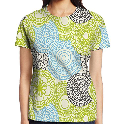 WuLion Pastel Colored Flowers with Ethnic Folk Style Effects Elegance Design Women's 3D Print T Shirt S White